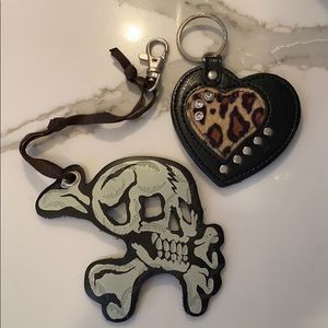 LEOPARD RHINESTONE HEART KEYRING & LEATHER SKULL